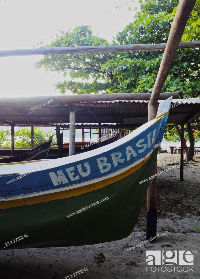 Stock Photo: Brazil, State of Sao Paulo, Ilhabela Island, Fishing Boats in Bonete. .