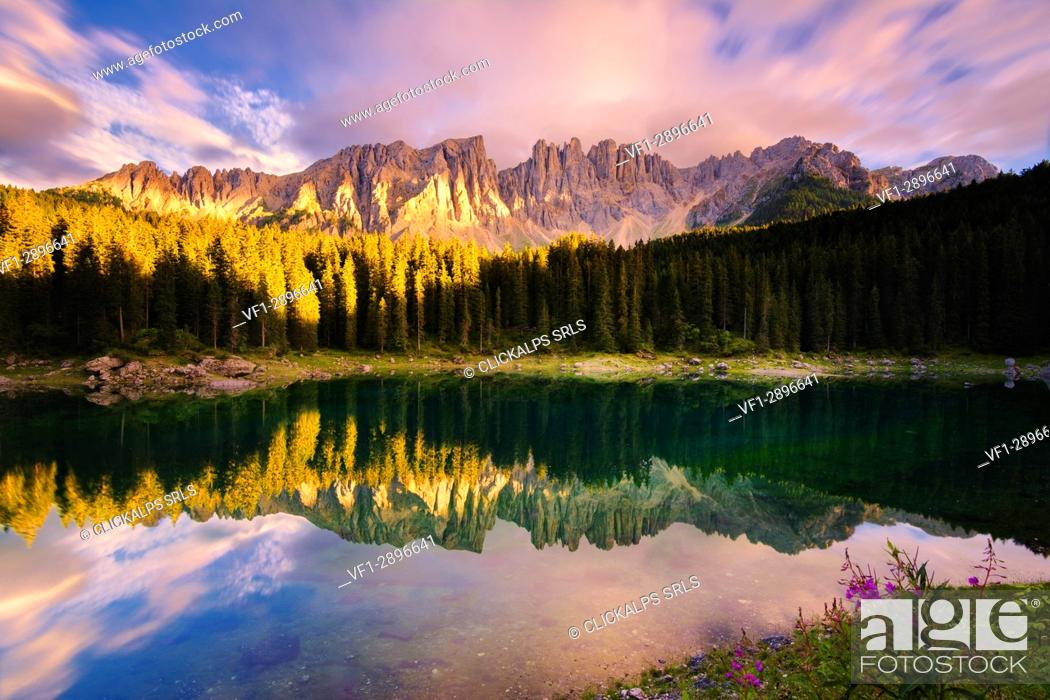 Stock Photo: Carezza lake at sunset, Bolzano province, Trentino Alto Adige district, Italy, Europe.
