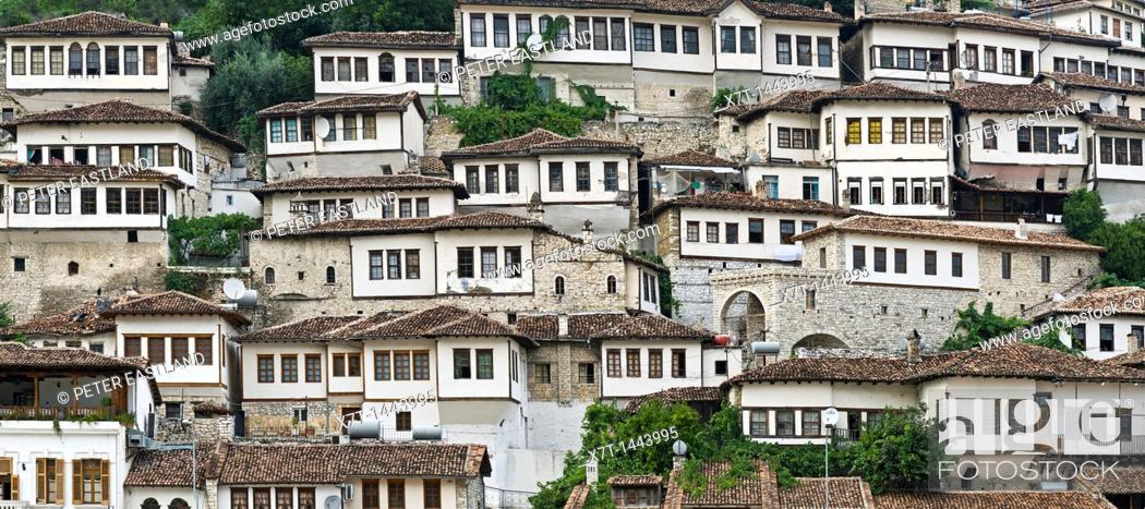 Stock Photo: A panorama of the Mangalemi district of Berat with its ottoman period, houses in the old town of Berat in central Albania.