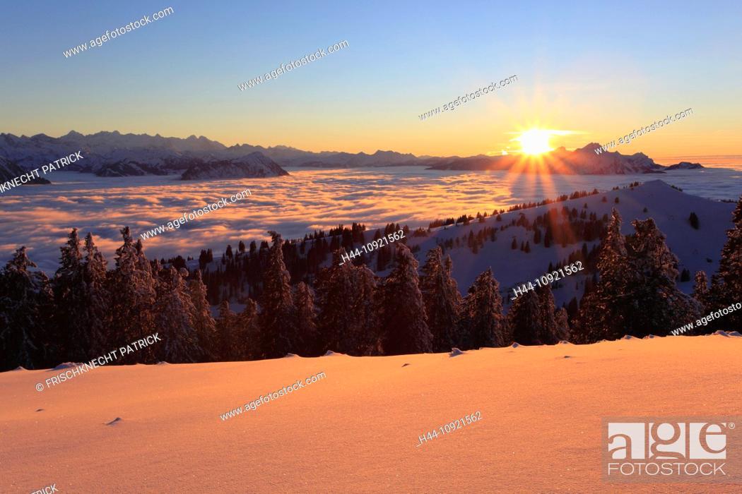 Stock Photo: Evening, evening light, Alp, Alps, afterglow, alpenglow, view, mountain, mountains, mountain, mountain panorama, Bernese Alps, mountains, back light.