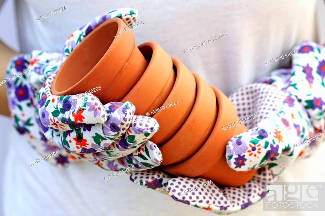 Stock Photo: Flowerpots.