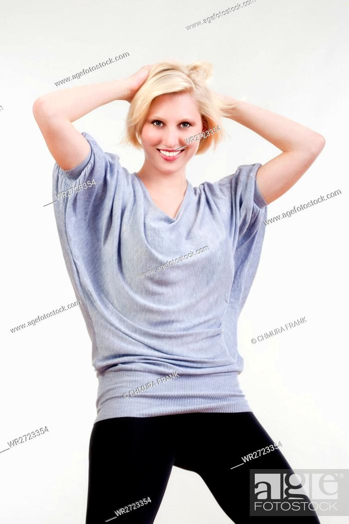 Stock Photo: adult, attractive, background, beautiful, blond, Caucasian, expression, face, female, girl, isolated, looking, person, portrait, pose, pretty, sensuality, smile.