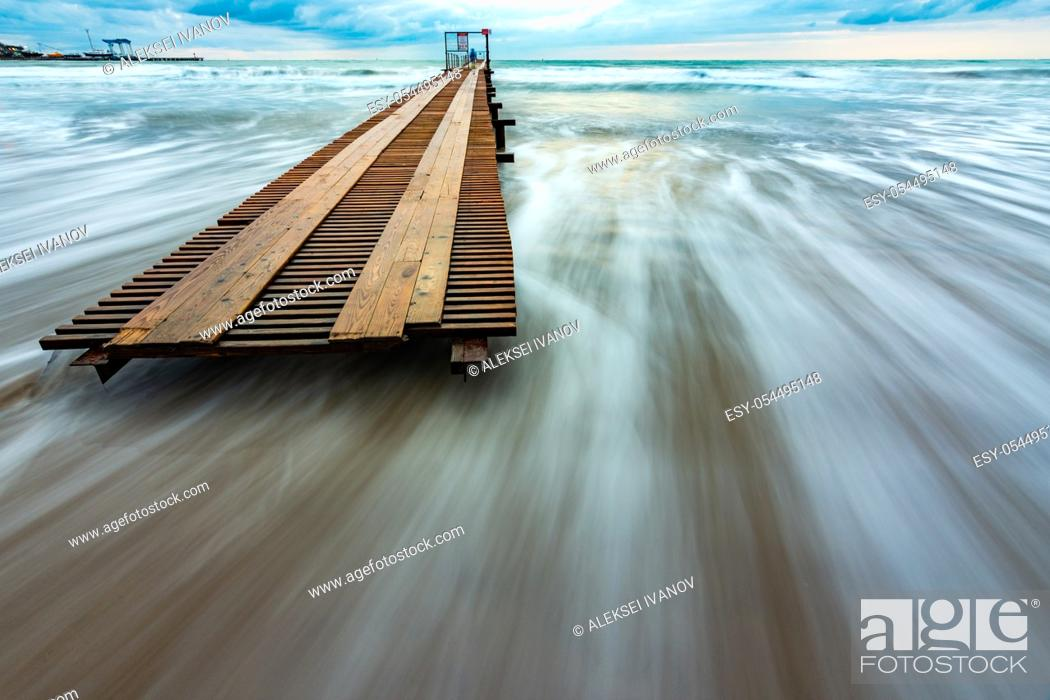 Stock Photo: Beautiful seascape after sunset with long exposure.