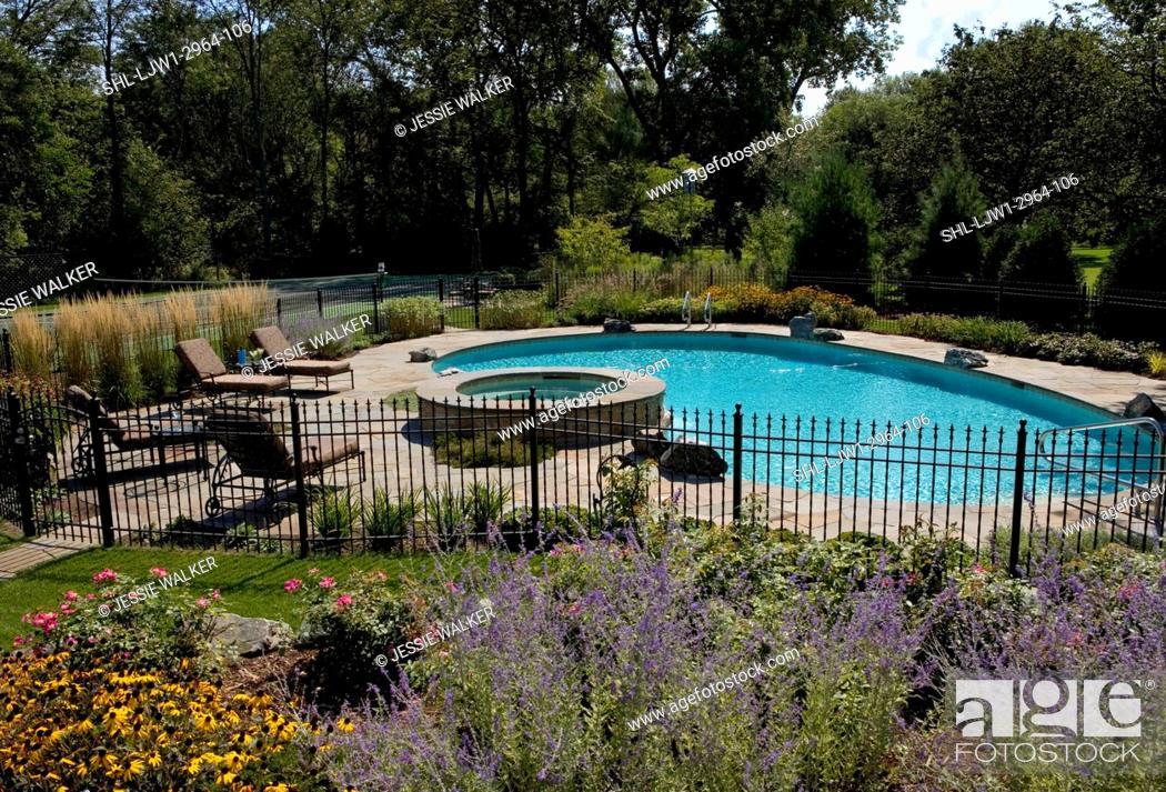 Swimming Pools Fenced Pool Area Raised Hot Tub Perennial Flower
