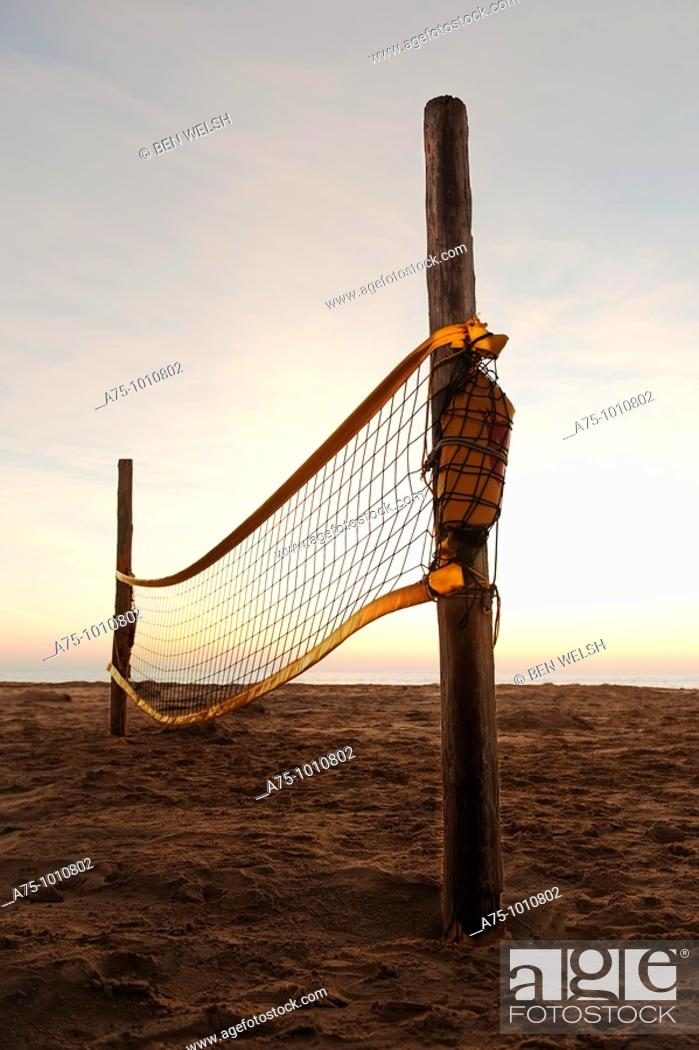 Stock Photo: Beach volley net.