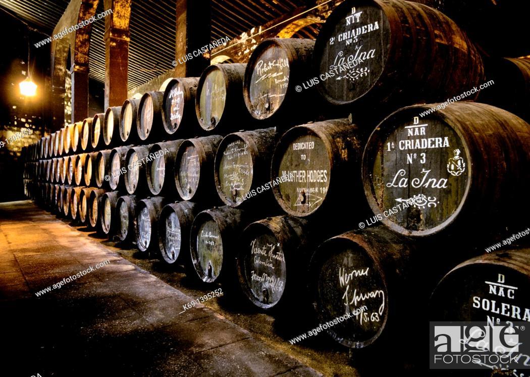 Stock Photo: Domecq Sherry Wine Cave  Jerez de la Frontera  Cadiz  Spain.