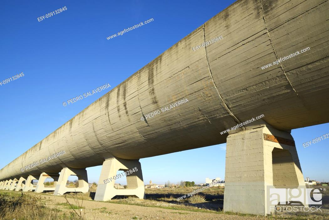 Stock Photo: Concrete irrigation canal in Huesca Province, Aragon, Spain.