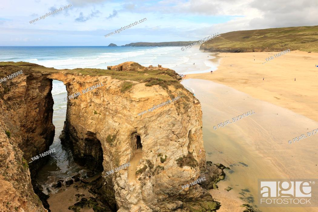 Stock Photo: Perranporth, Cornwall, England, UK, Great Britain, Europe  Natural rock arch at Droskyn Point with Perran beach beyond.