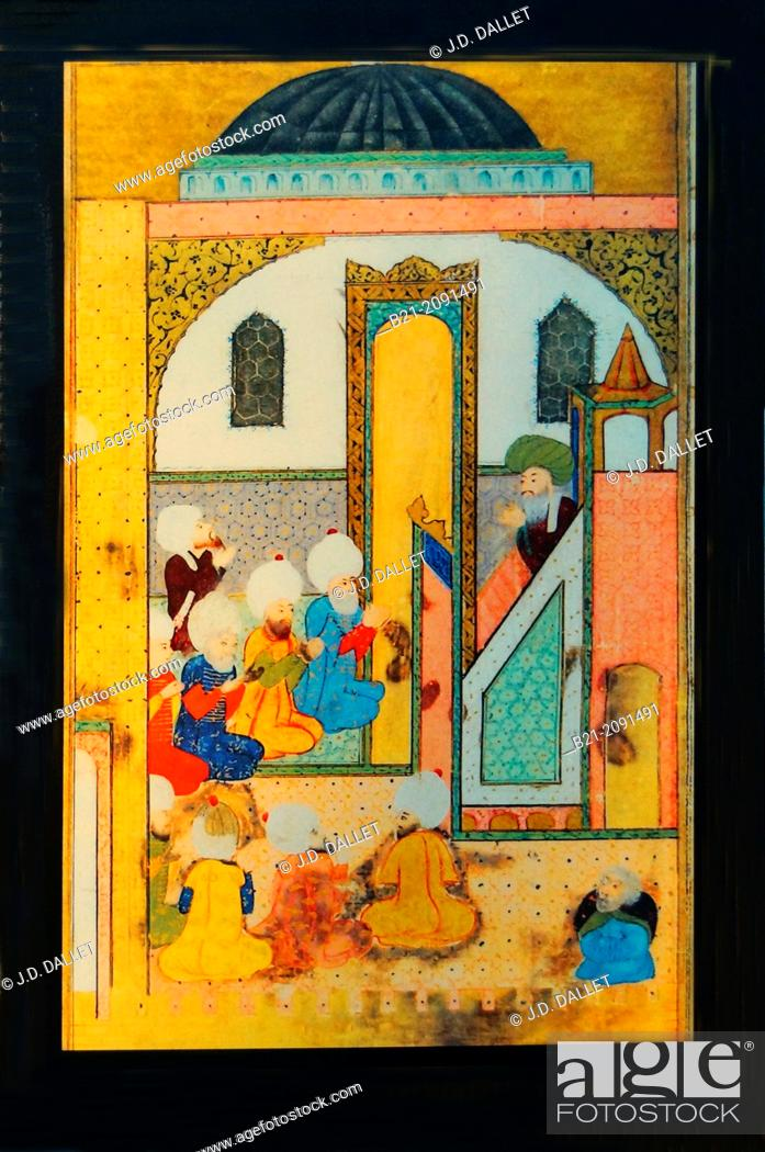 16th century miniature, religious scholar, Islam, Turkey, Stock