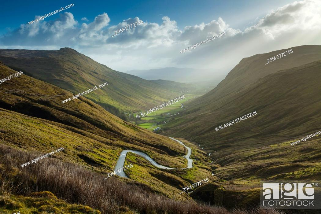 Stock Photo: Spring sunrise at Glengess Pass, county Donegal, Ireland.