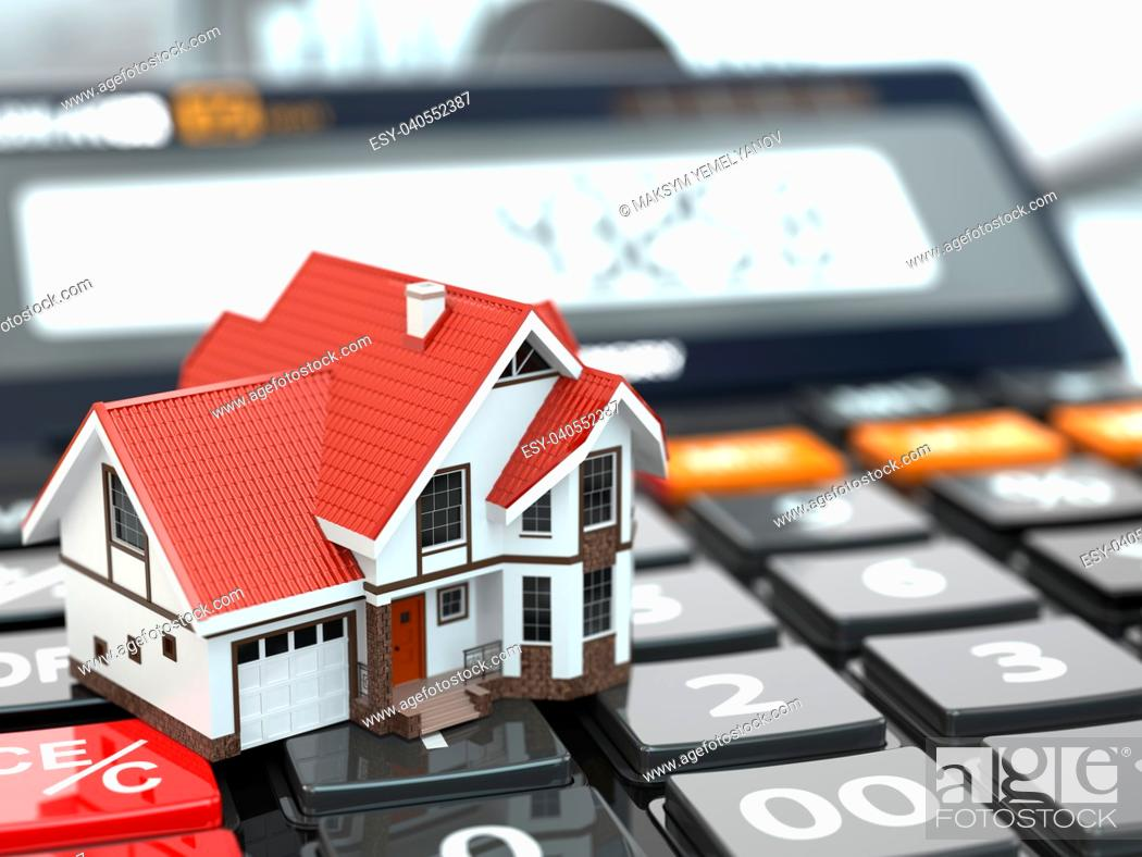 Stock Photo: Real estate concept. House on calculator. Mortgage. 3d.
