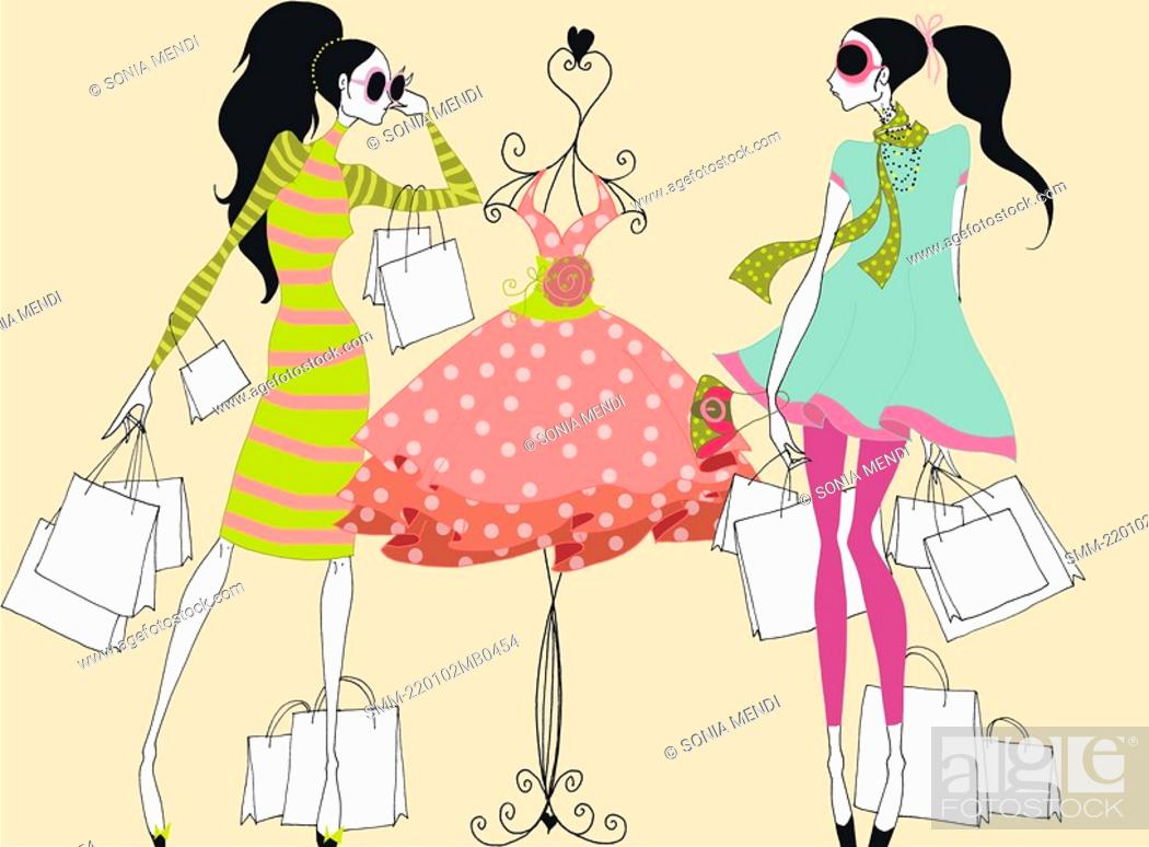 Stock Photo: Young women with shopping bags looking at dress.