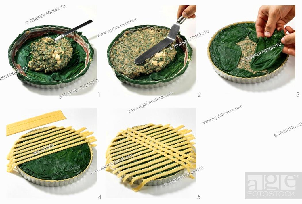 Stock Photo: Making chicken and spinach quiche.