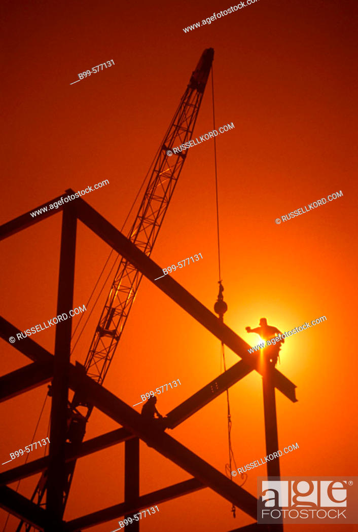 Stock Photo: Workers, Urban Commercial Building Construction Site.
