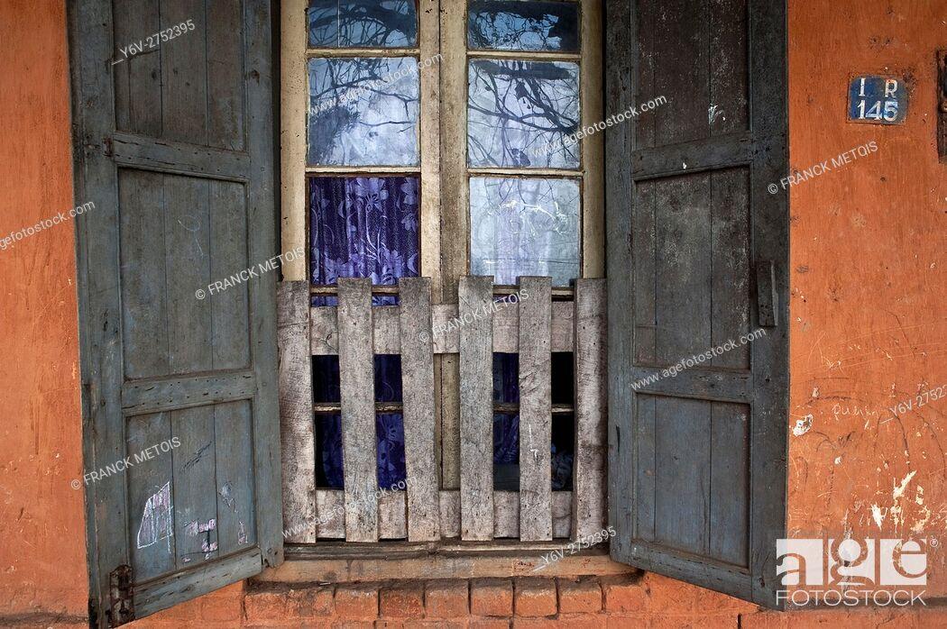 Stock Photo: Window of an old house at Fianarantsoa upper town ( Madagascar).