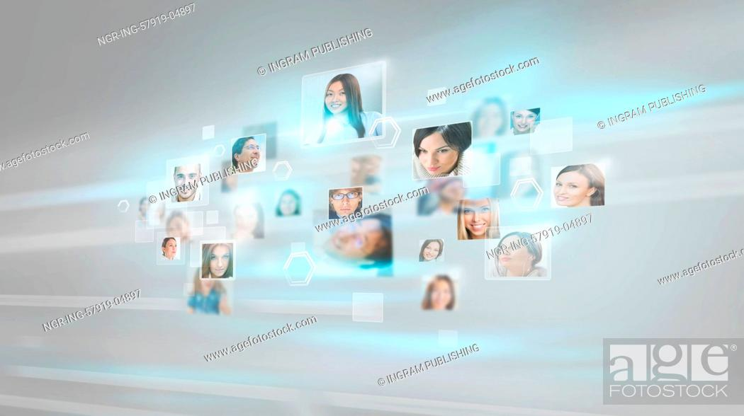 Stock Photo: People portraits flying with high speed digital technology concept.