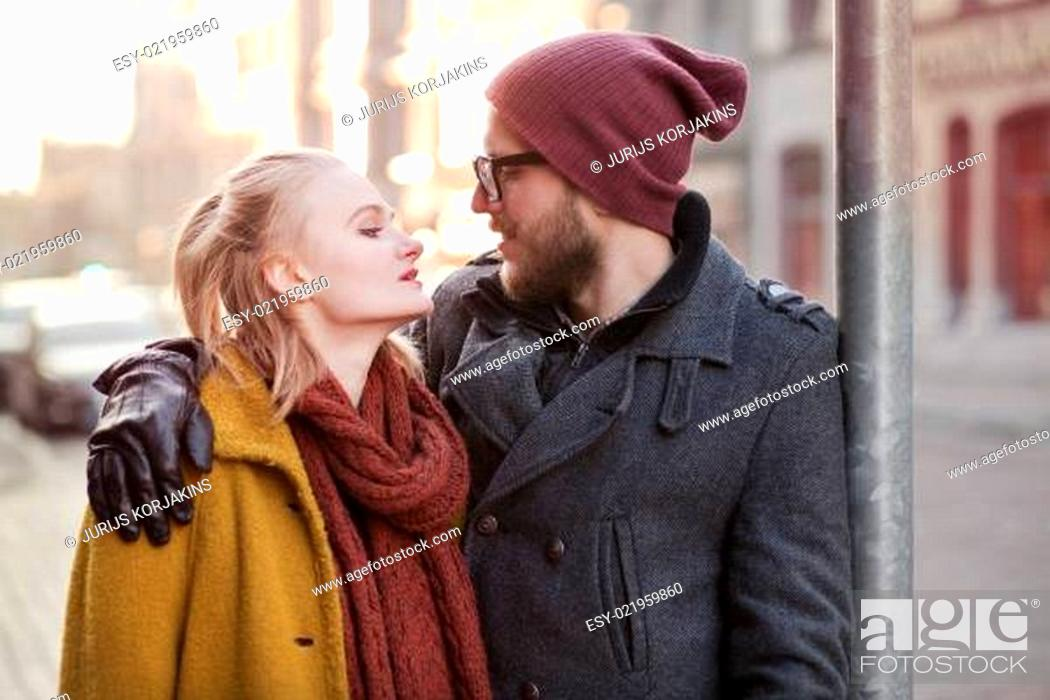 Stock Photo: Young happy hipster couple.