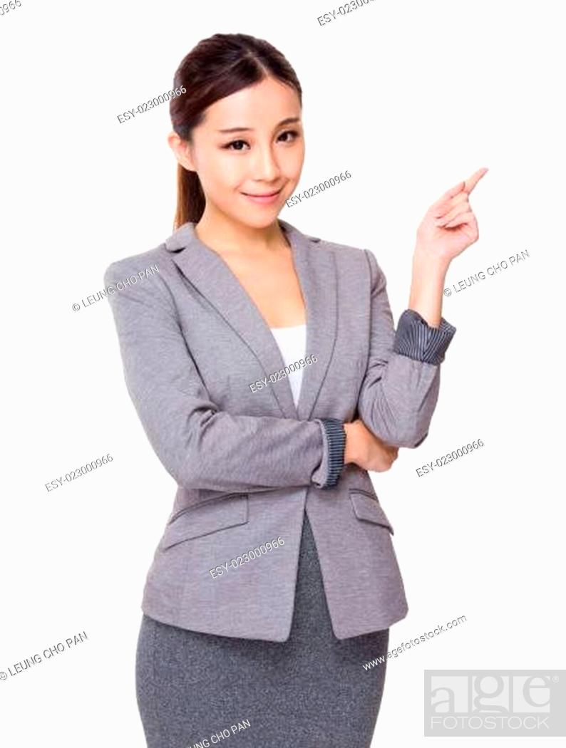 Stock Photo: Businesswoman with finger point aside.