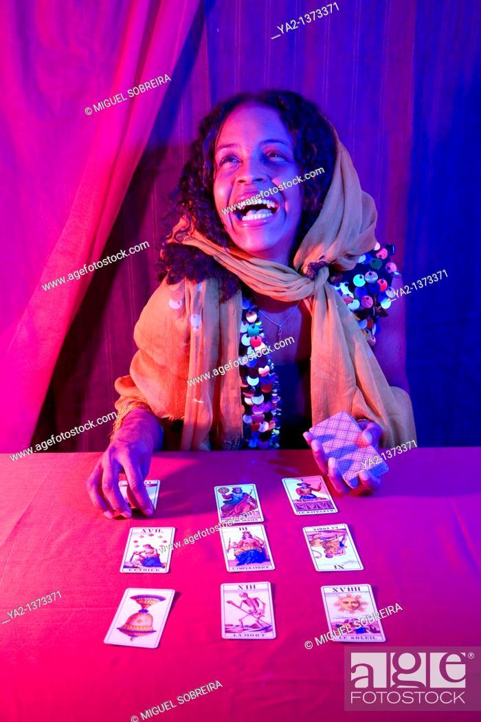Stock Photo: Female Tarot Card reader.