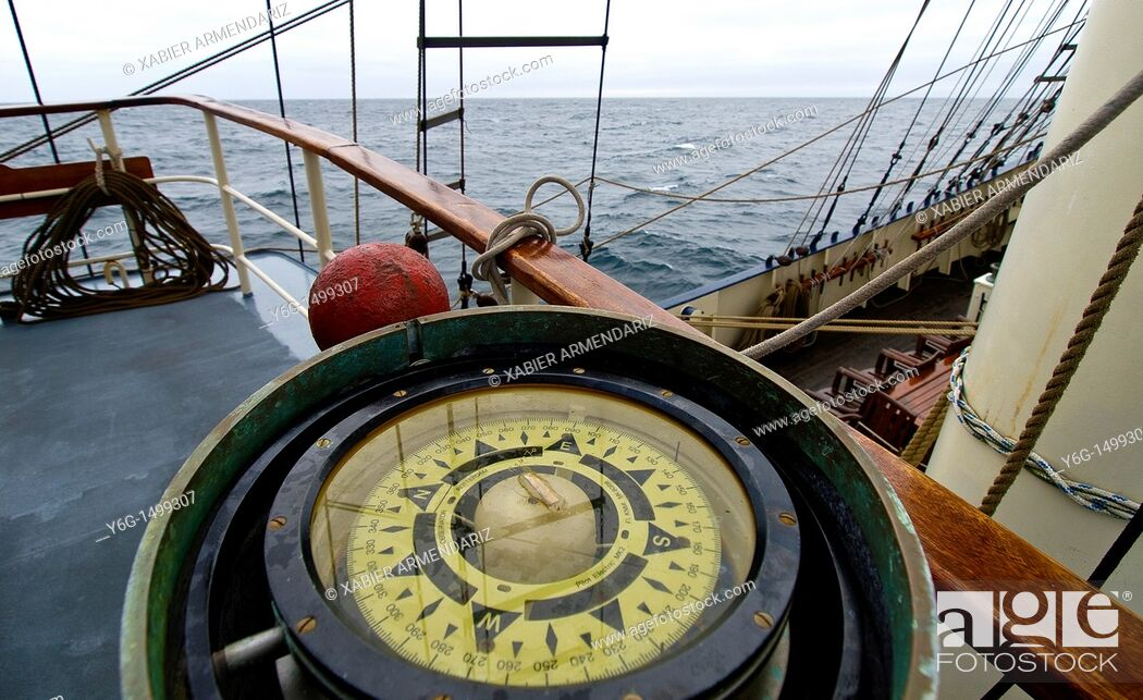 Stock Photo: Compass aboard of the tall ship Thalassa English Channel, United Kingdom, Europe.