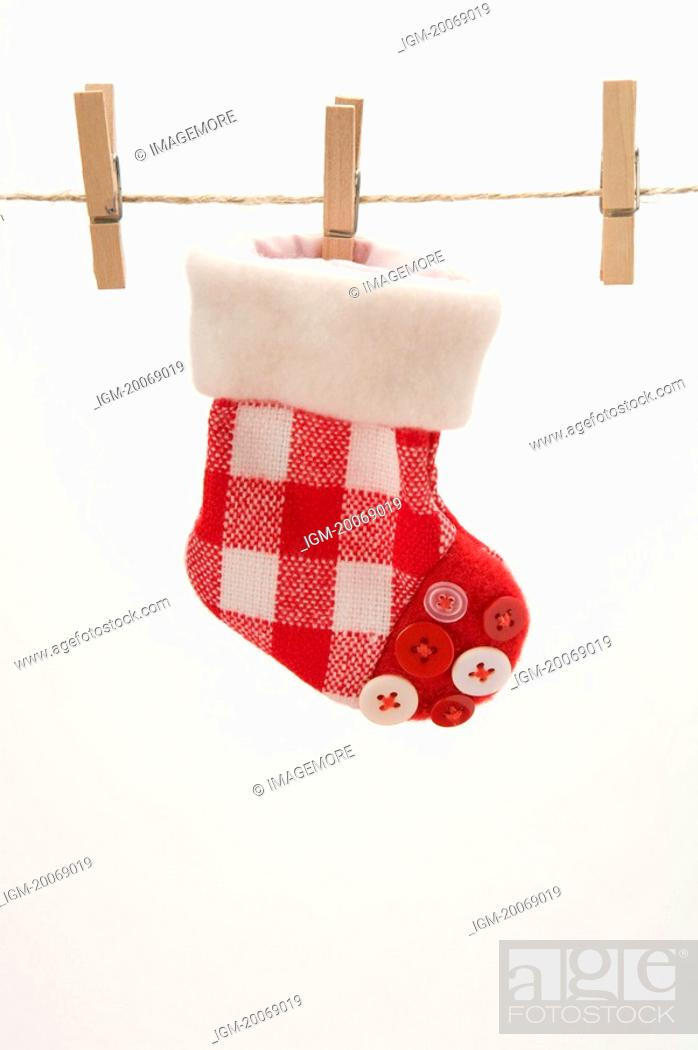 Stock Photo: A decoration stock clipped on a clothesline.