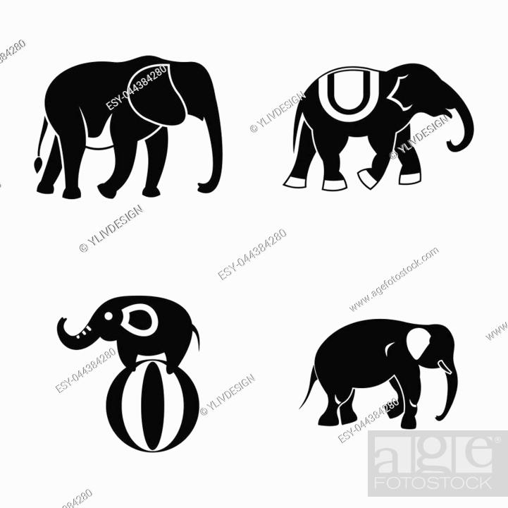 elephant icon set simple set of elephant icons for web design isolated on white background stock photo picture and low budget royalty free image pic esy 044384280 agefotostock 2
