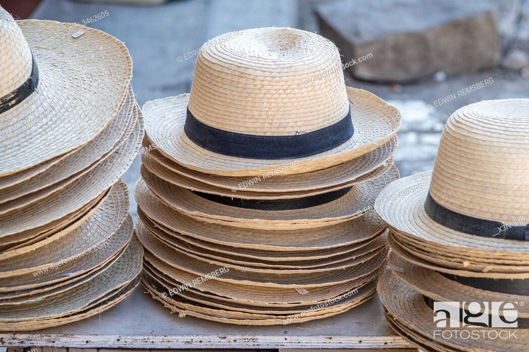Stock Photo: A variety of classic straw hats , Havana, Cuba.