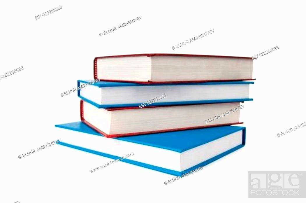 Stock Photo: Stack of books isolated on the white background.