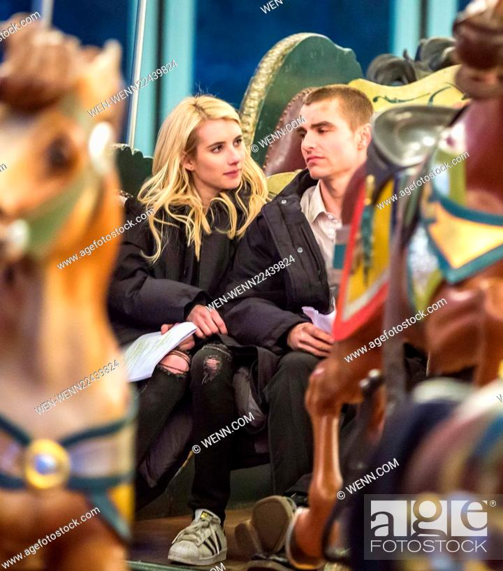 Emma Roberts And Dave Franco Film A Scene On A Carousel For Their New Movie Nerve In Brooklyn Stock Photo Picture And Rights Managed Image Pic Wen Wenn22439824 Agefotostock
