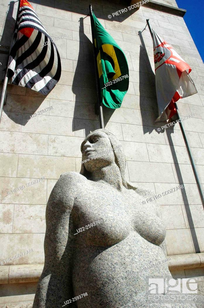 Stock Photo: Brazil, Sao Paulo, Sculpture at the Entrance of the City Hall.