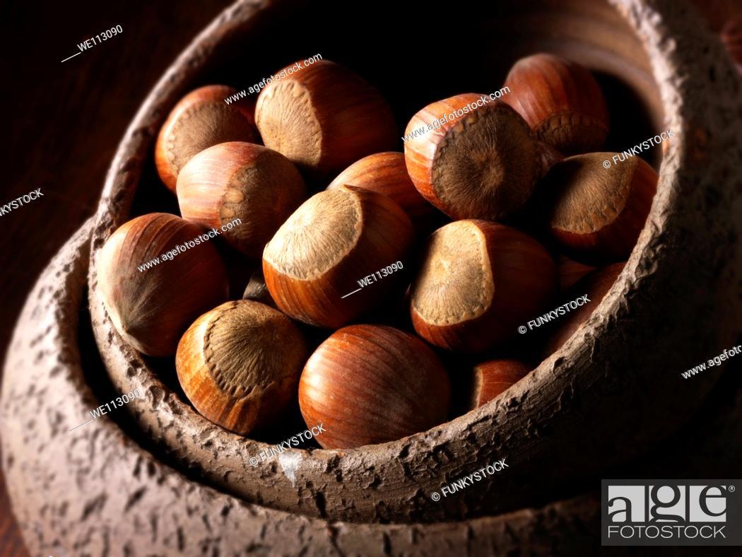 Stock Photo: Whole Hazelnuts.