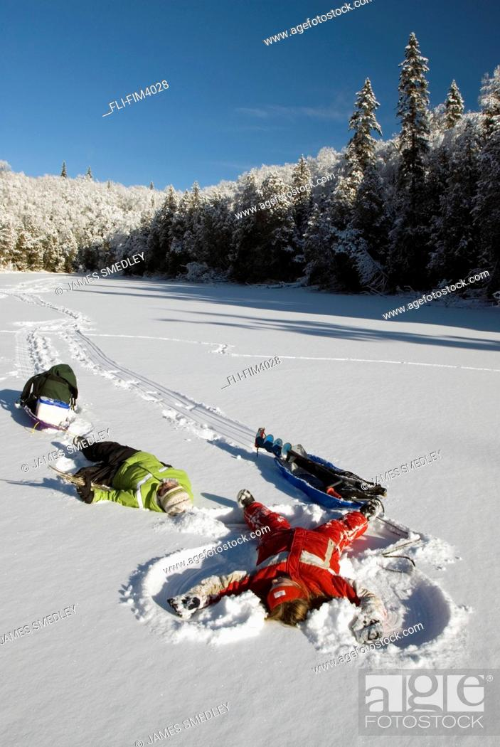Artist's Choice: Young Girls making Snow Angels, Wawa, Ontario