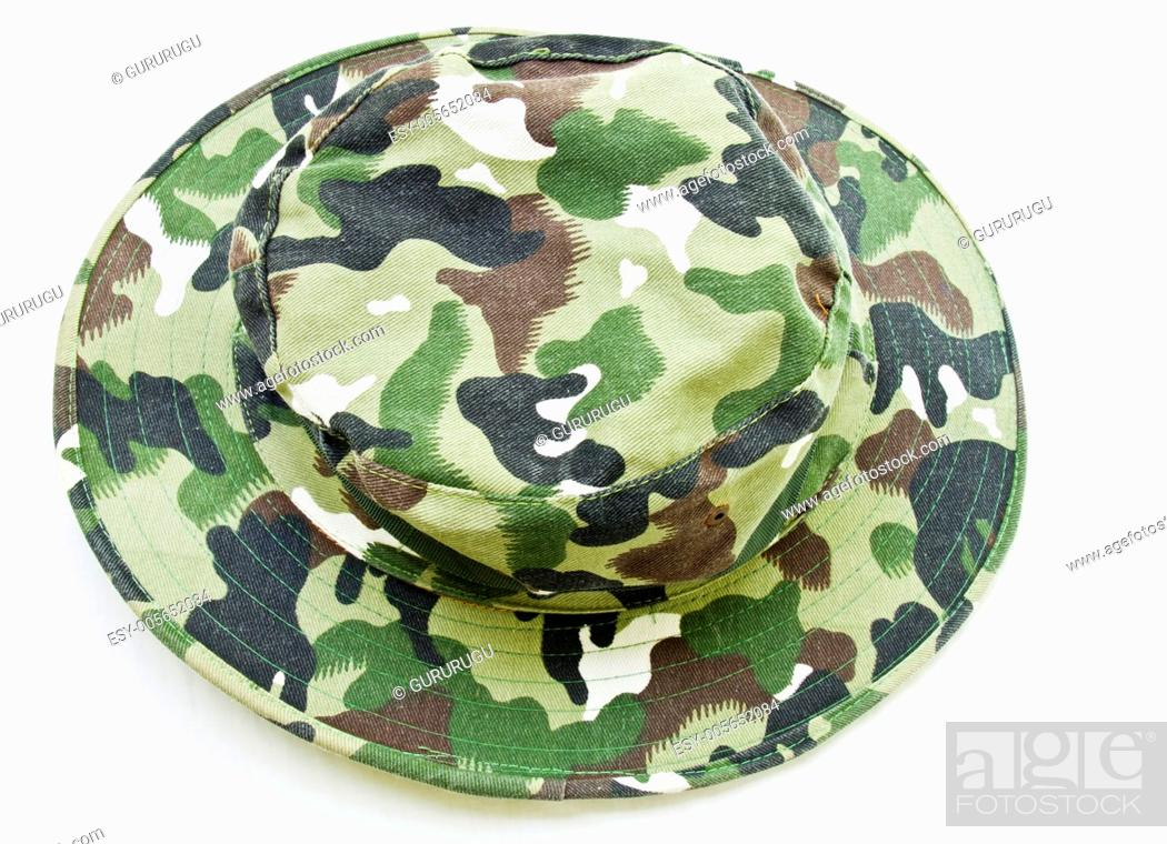 Stock Photo: Top view of camouflage hat isolated on white background.