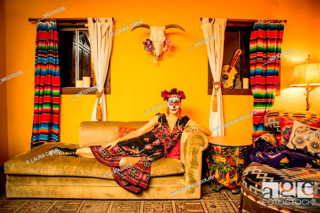 Stock Photo: Woman in Dia de los Muertos makeup and costume, Day of the Dead celebration in the desert, California, United States of America, North America.