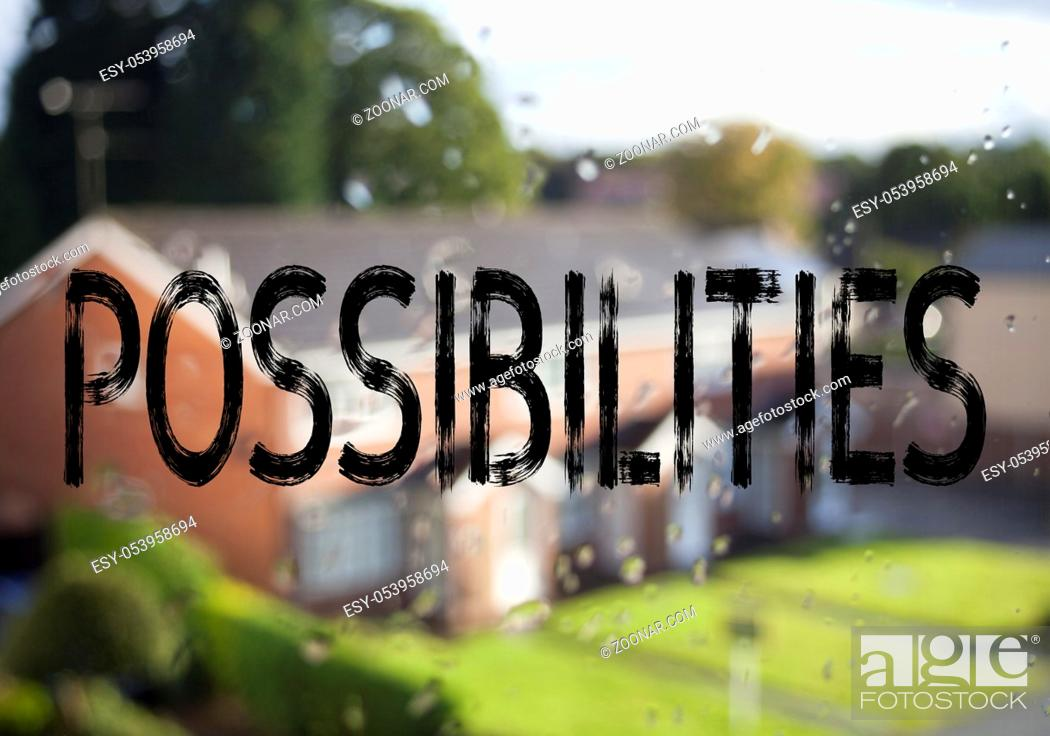 Stock Photo: Announcement text caption showing Possibilities. Business concept for Impossible Choice Choices written on old brick background with space.