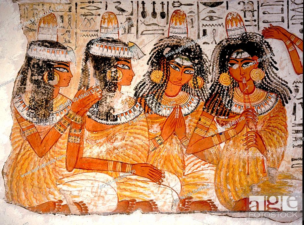 Stock Photo: Part of a banquet scene from the tomb of Nebamun.