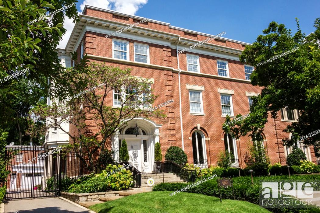 Stock Photo Missouri Saint St Louis Central West End Historic Neighborhood Lindell Boulevard Luxury Home Mansion Residential Architecture