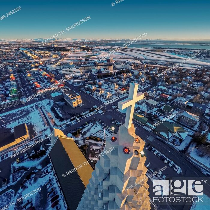 Stock Photo: Hallgrimskirkja Church and Reykjavik, image produced using a drone, Reykjavik, Iceland.