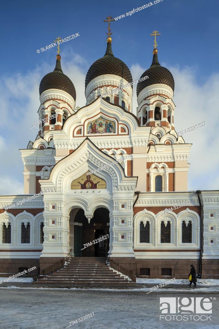 Stock Photo: Winter day at Alexander Nevsky orthodox church in Tallinn old town, Estonia.