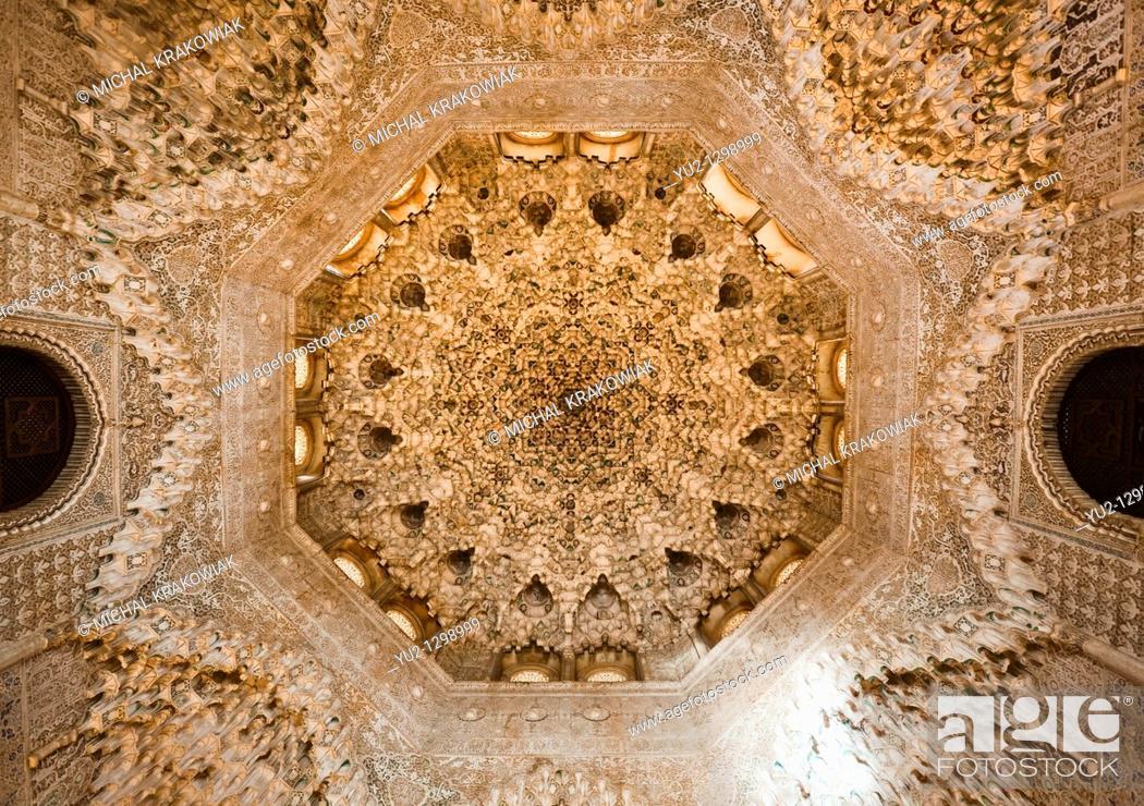Stock Photo: Ornate arch in Alhambra Granada, Spain.