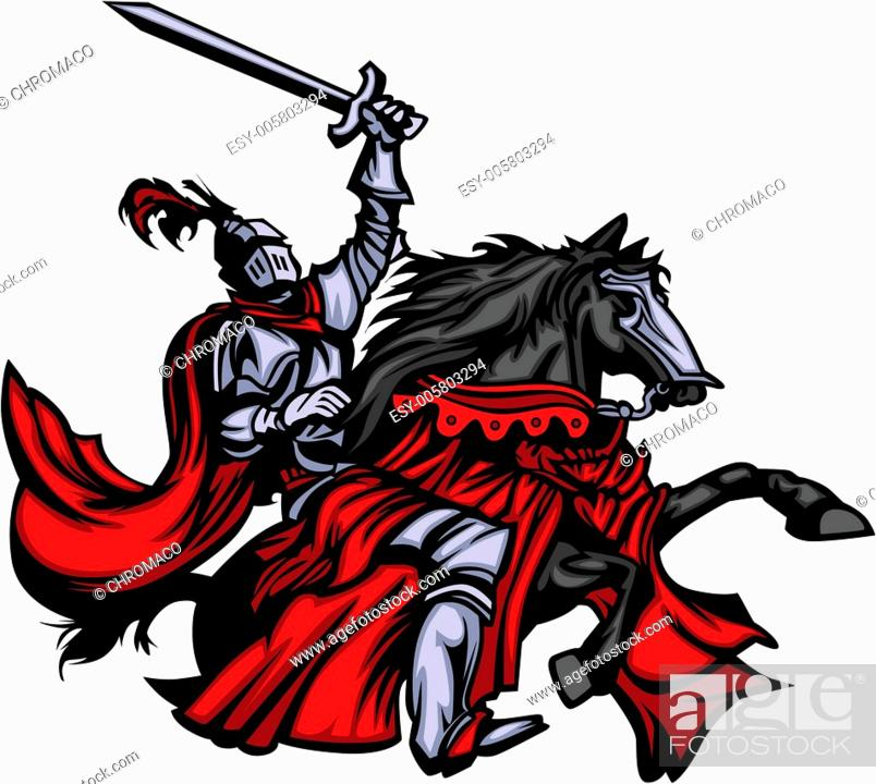 Stock Vector: Knight Mascot on Horse.