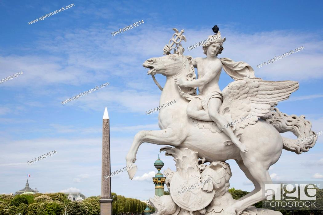 Stock Photo: The Statue was built by Antoine Coysevox. It was originally located at Marly and moved to the Tuileries in 1719. In 1986 the original of marble was moved to the.