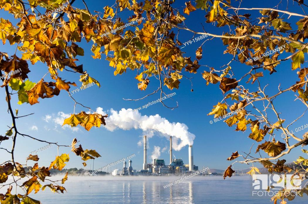 Stock Photo: Power Plant on Lake Julian - Asheville, North Carolina USA.