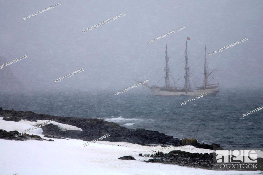 Imagen: The tallship Europa, a three-masted barque during snowstorm, South Shetland Islands, Antarctica.