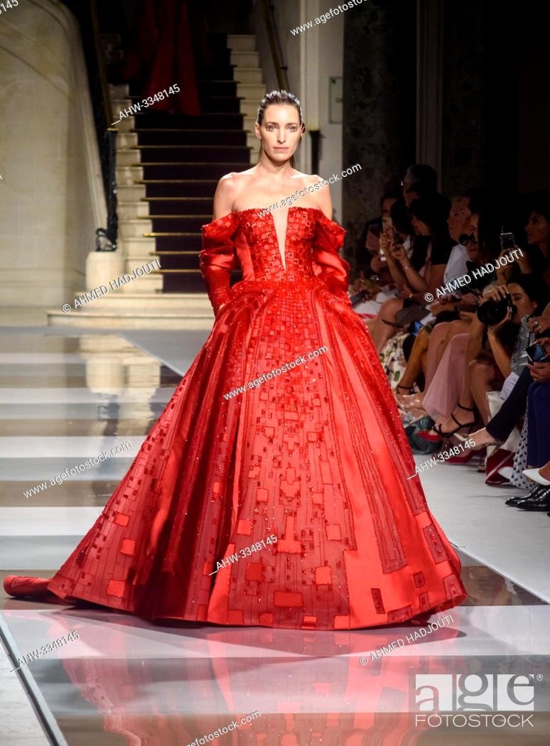 Stock Photo: PARIS, FRANCE - July 03 : A model walks the runway at the Ziad Nakad Show during the Paris Fashion Week Haute Couture Fall Winter 2019/2020 on July 03.