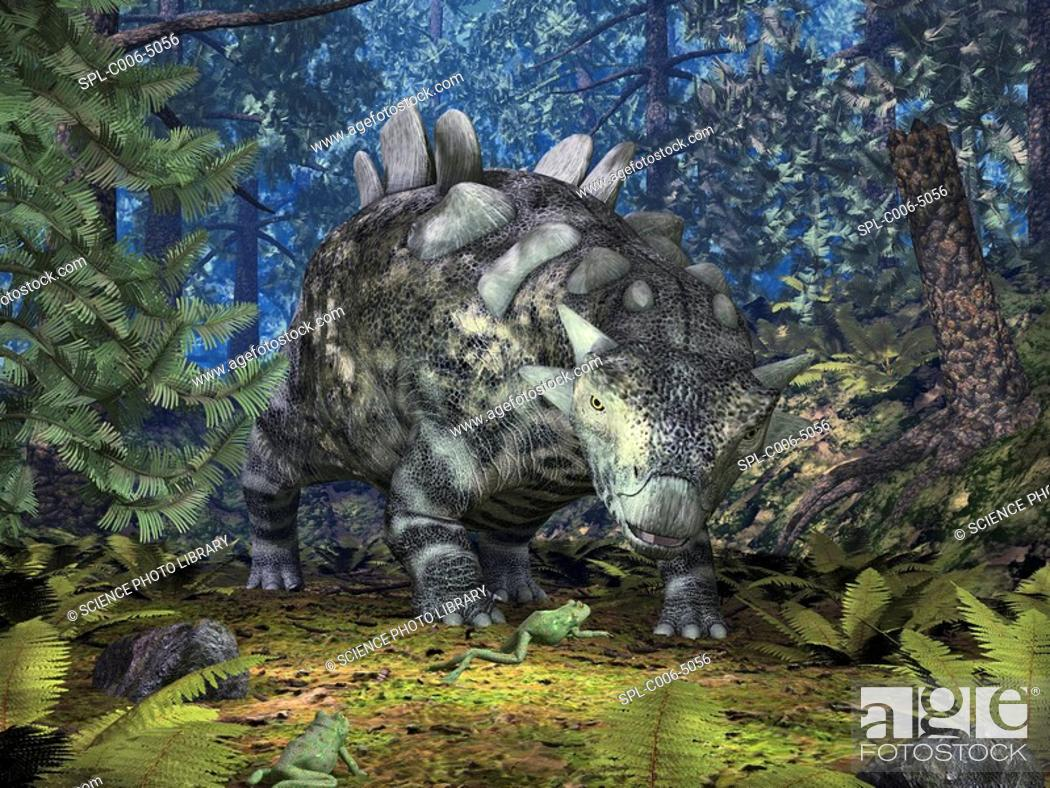Stock Photo: Crichtonsaurus and frogs. Computer artwork of a ten-foot-long Crichtonsaurus and a pair of frogs in a forest during the late Cretaceous period 99.6-65.