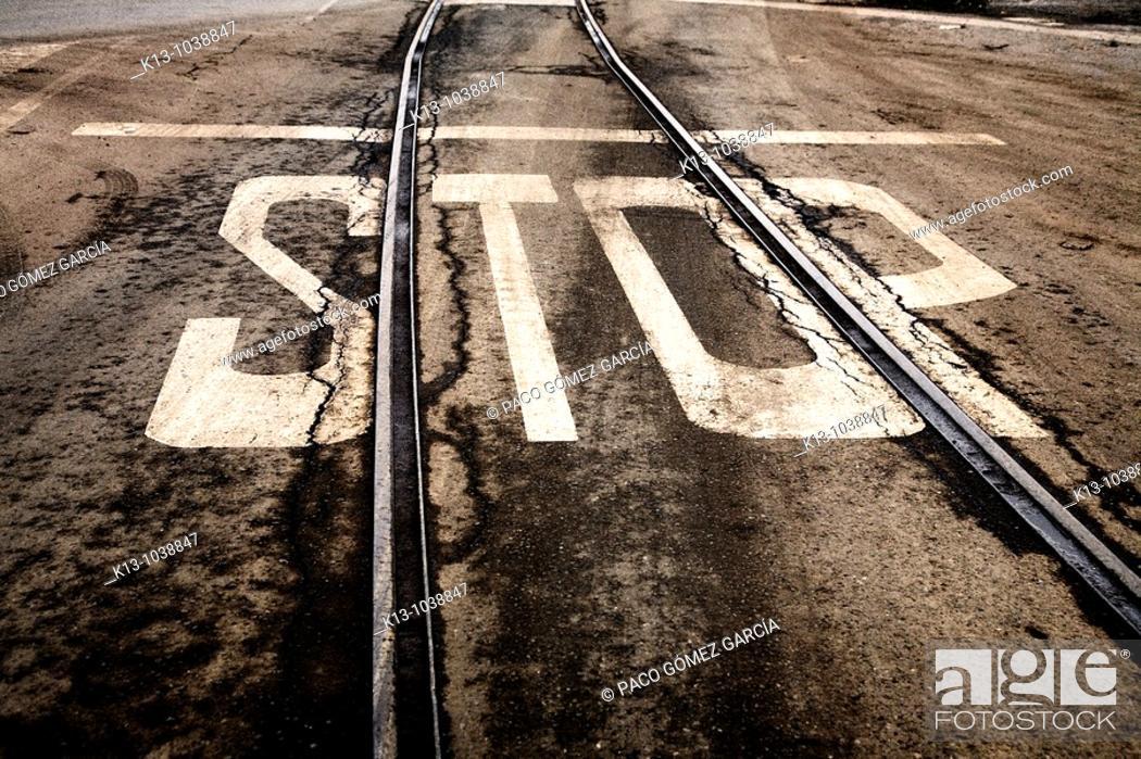 Stock Photo: Rails at port, Pasajes, Guipuzkoa, Basque Country, Spain.