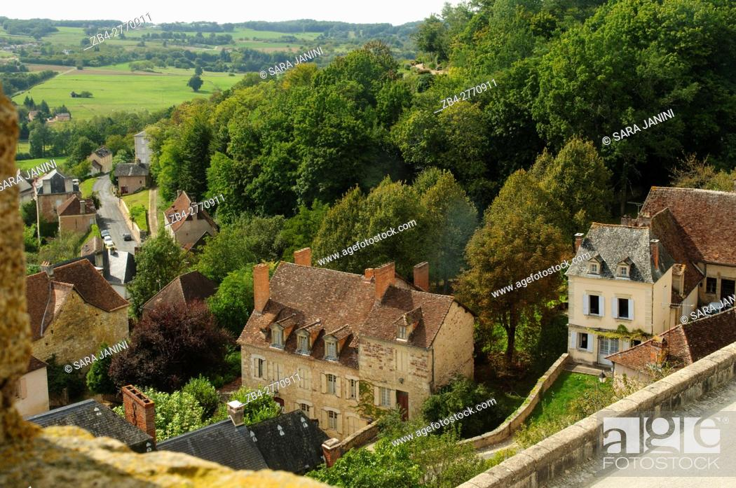 Stock Photo: View from Château de Hautefort, Le Bourg d'Hautefort, 24390 Hautefort, Dordogne, Aquitaine, France. The medieval fortress was transformed into an imposing.