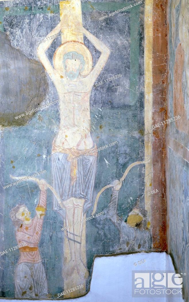 Stock Photo: Crucifixion, fresco detail, Chapel of St Sebastian, St John Lateran's Archbasilica, Rome. Italy, 12th century.