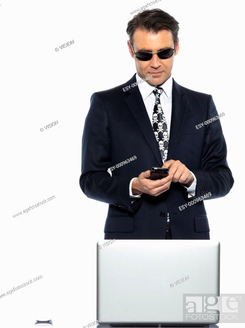 Stock Photo: man computer pirate caucasian in studio isolated on white background.